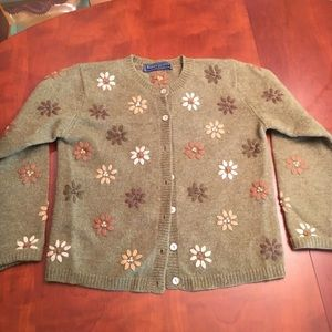 Karen Scott Wool cardigan with floral embroidery.